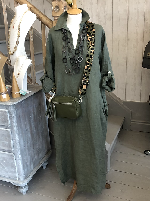 Khaki linen maxi dress