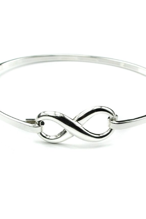 Sterling silver bangle with eternity symbol