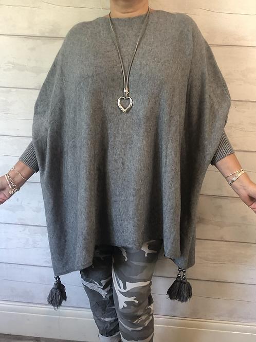 Grey tassle jumper
