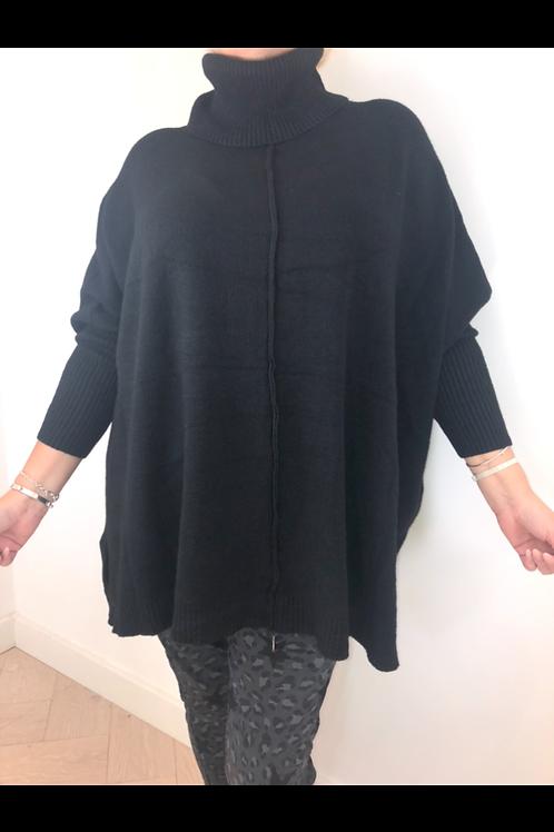 Black oversize roll neck jumper