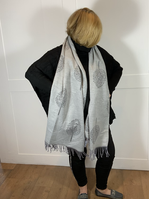 Grey reversible tree of life scarf.