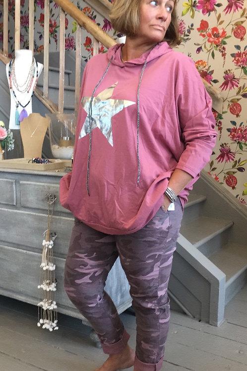 Rose pink star hoodie