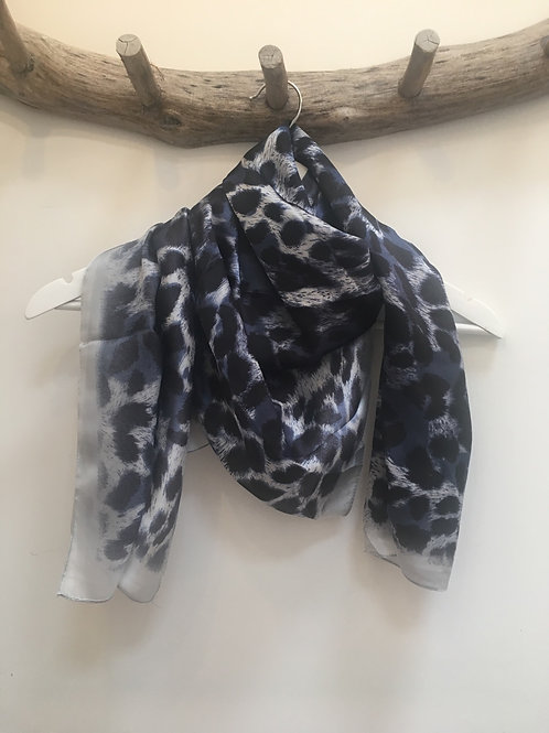 Navy leopard silky scarf