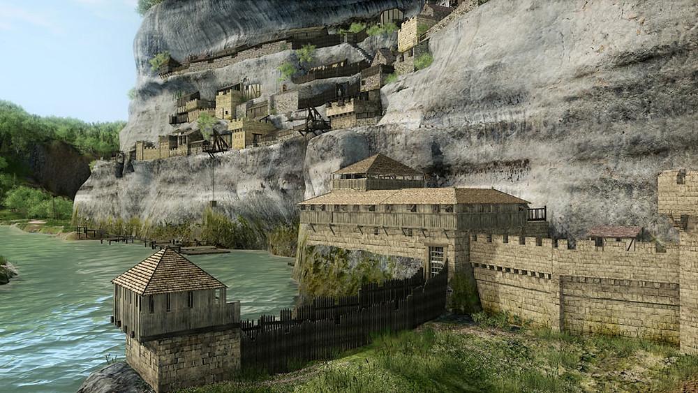 Une falaise de 80 mètres de haut, des grottes naturelles, une rivière, la Vézère (Dordogne, France), qui coule à proximité, la Roque Saint-Christophe jouit d'un environnement avantageux qui a attiré des peuplades dès la préhistoire