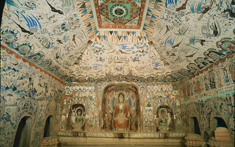 Les grottes de Mogao forment un ensemble de 492 chapelles bouddhistes près de Dunhuang au nord-ouest de la Chine.