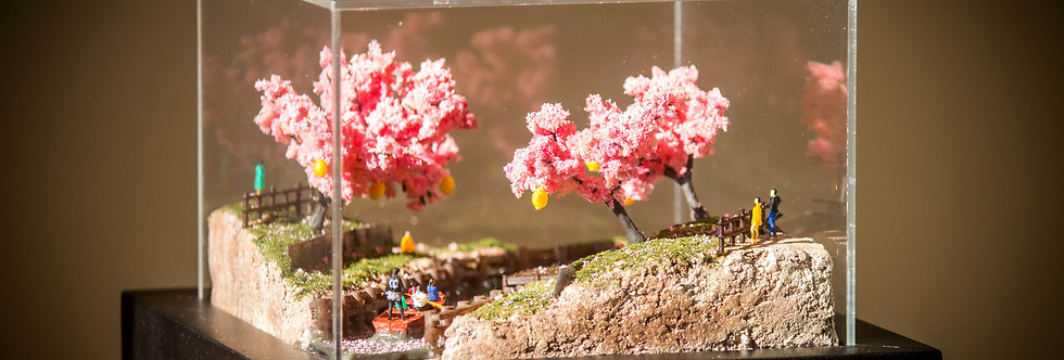 Japanese River Cherry Blossom - Miniature model Diorama