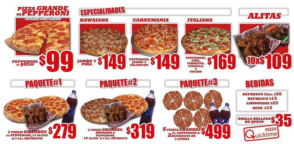 Menú de Pizzas y Alitas en San Miguel de Allende