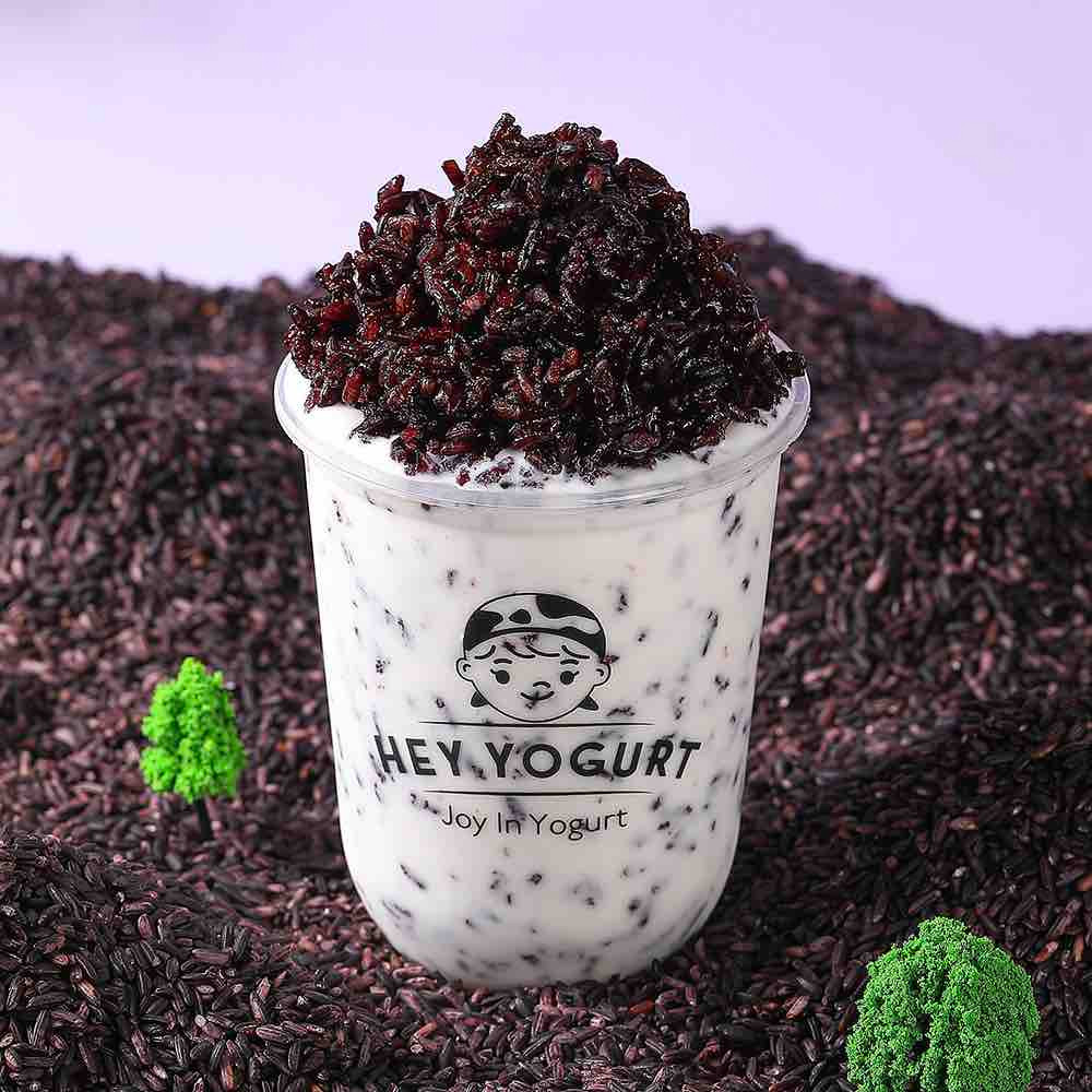 healthy purple rice yogurt drink