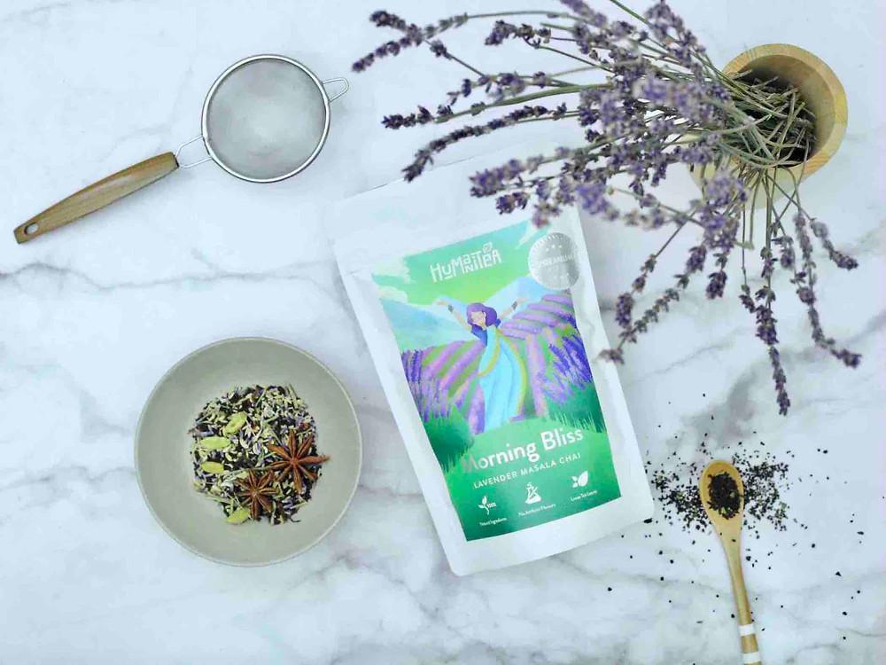HumaniTea chai blends, Morning Bliss Lavender Masala Chai