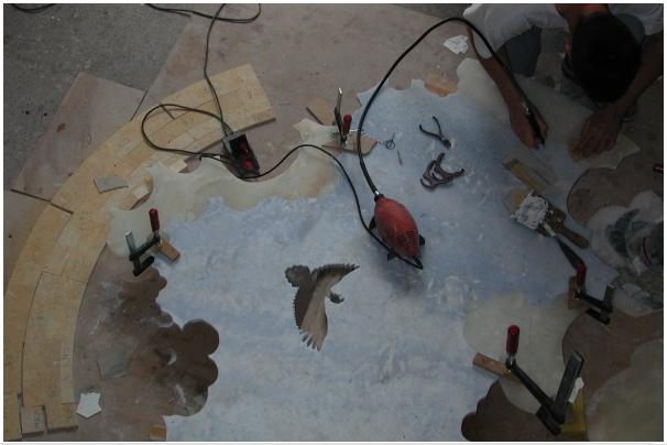 Marqueterie pierre restauration