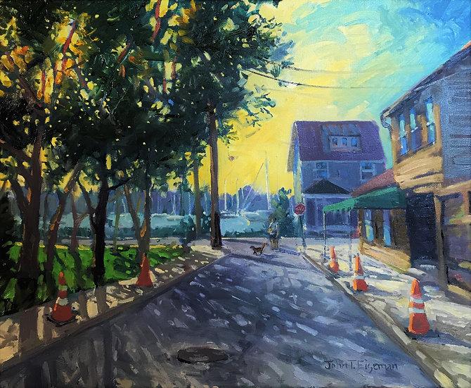 Morning Walk at Davis' Pub by John Eiseman