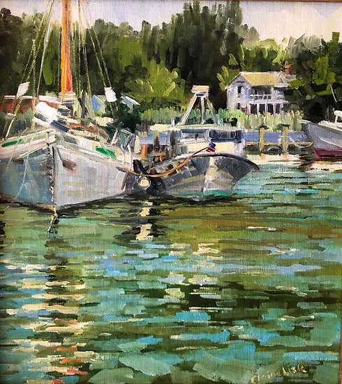 Boats in Dogwood Cove by Elaine Lisle