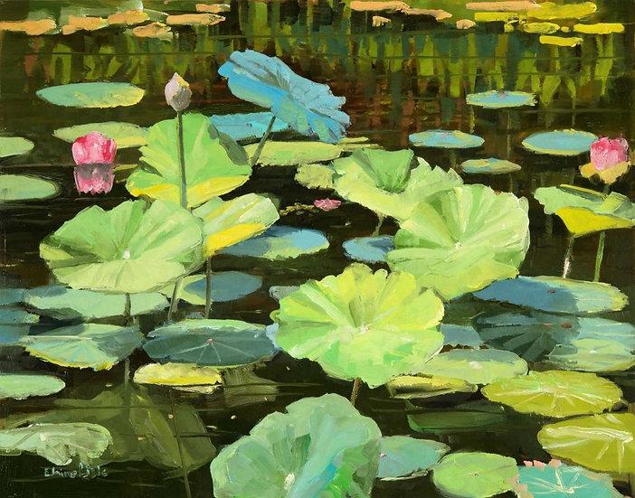 Lotus Pond Reflections by Elaine Lisle