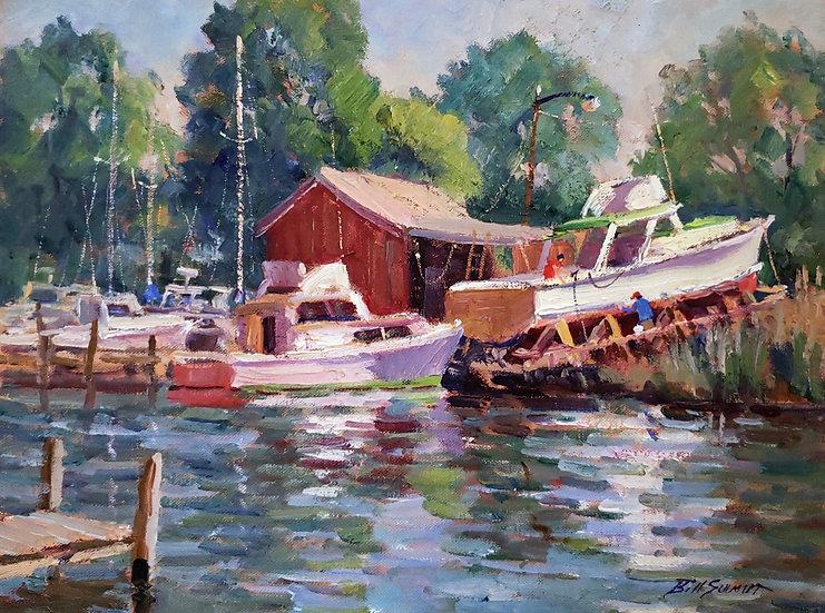Boatyard in Deale by Bill Schmidt