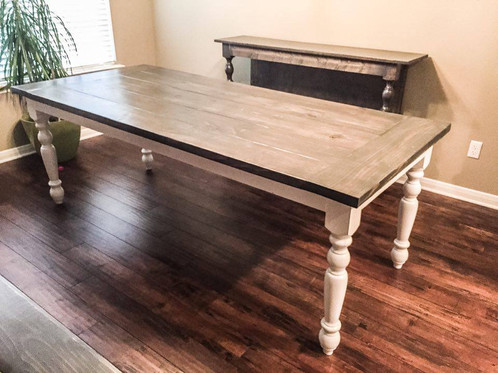 Exceptionnel Transitional Country Farm Table. $ 695.00. Base Painted In Linen White, Top  Stained In Carbon Grey.