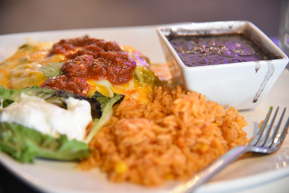 Stacked Green Chile Enchiladas (with red salsa I put on top)
