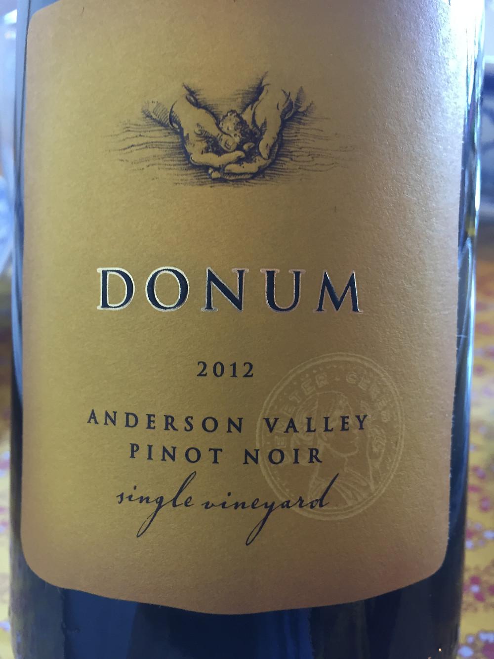 2012 Donum Pinot Noir, Single Vineyard, Anderson Valley, Mendocino County, CA