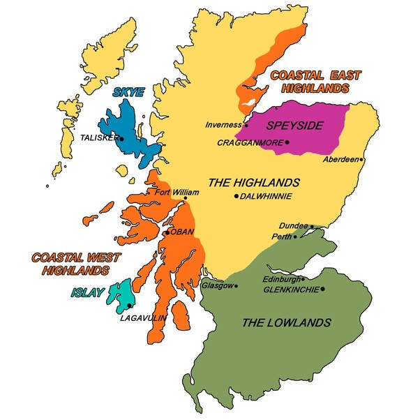The whisky regions of Scotland