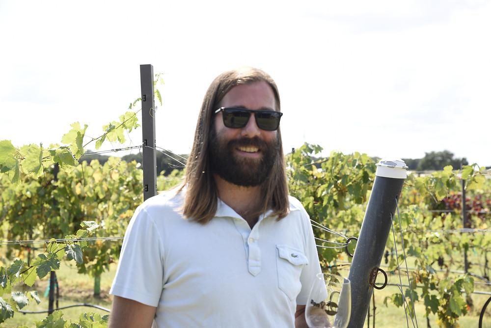 Ron Yates in his estate vineyard