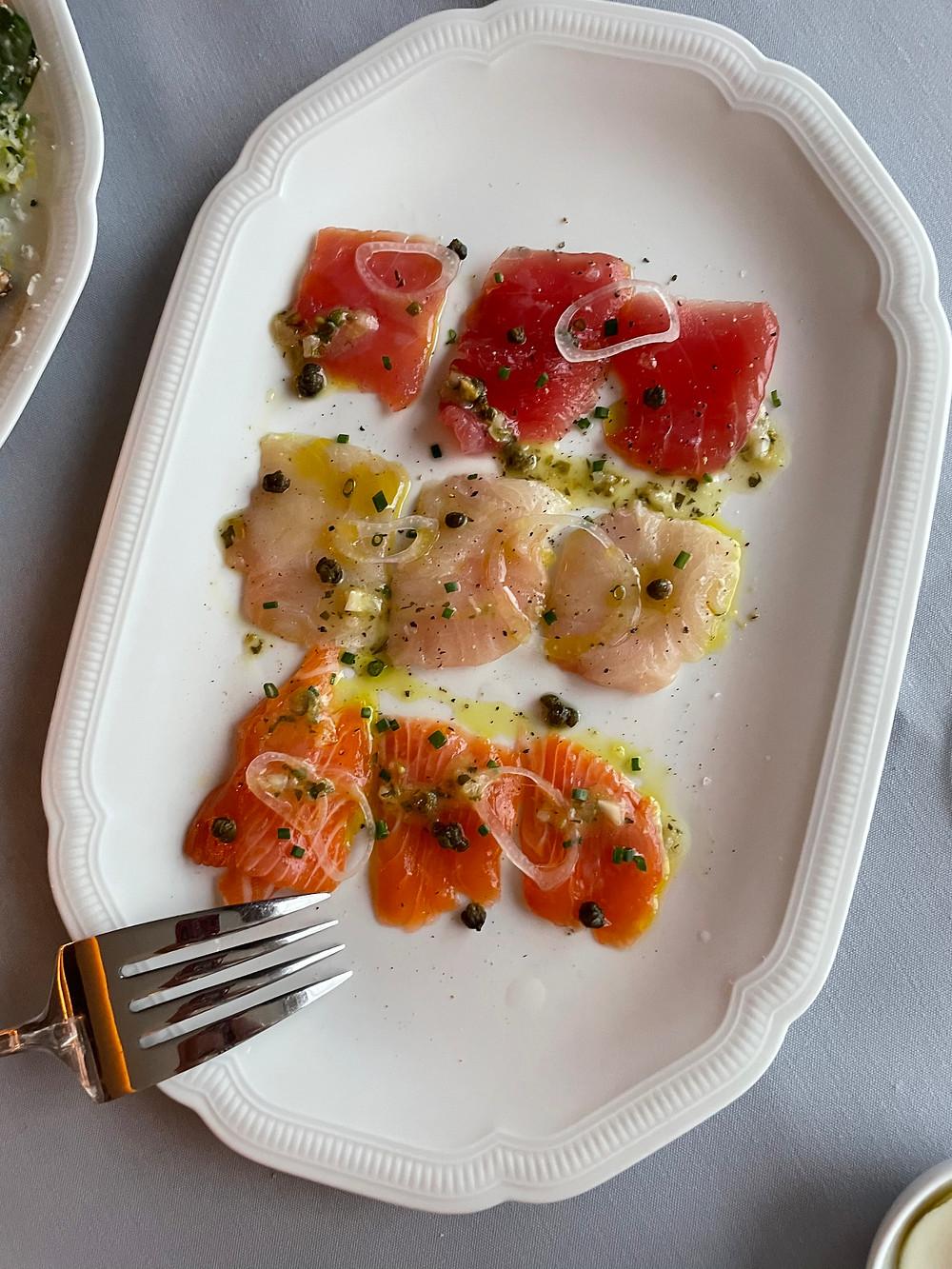 Crudo of salmon, hamachi and tuna