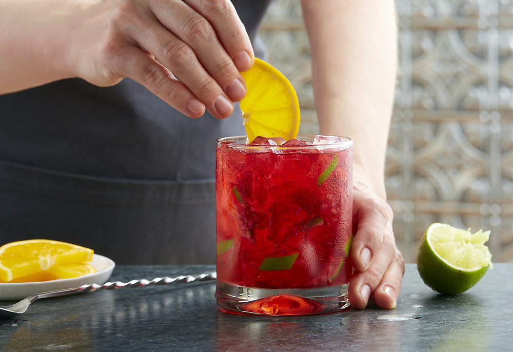 Strawberry Hibiscus Caipirinha