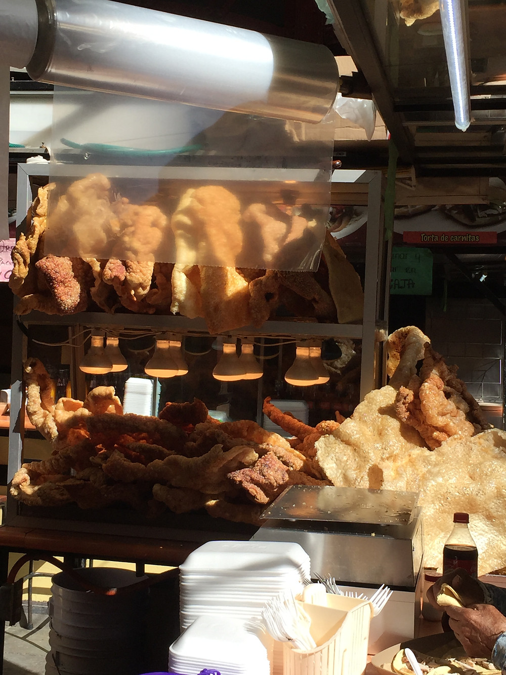 Giant chicharrón slices at Hidalgo Market