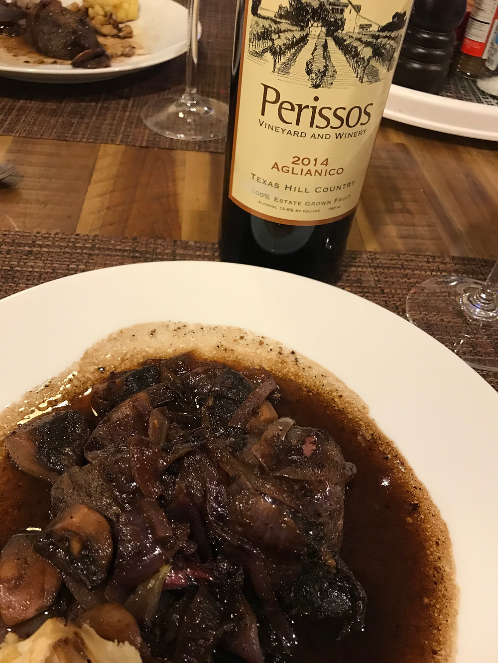 It would be only half a meal to serve this without wine and 2014 Perissos Aglianico is at its peak.