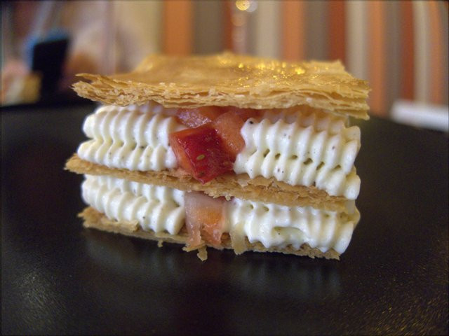 Strawberry and vanilla mille feuille