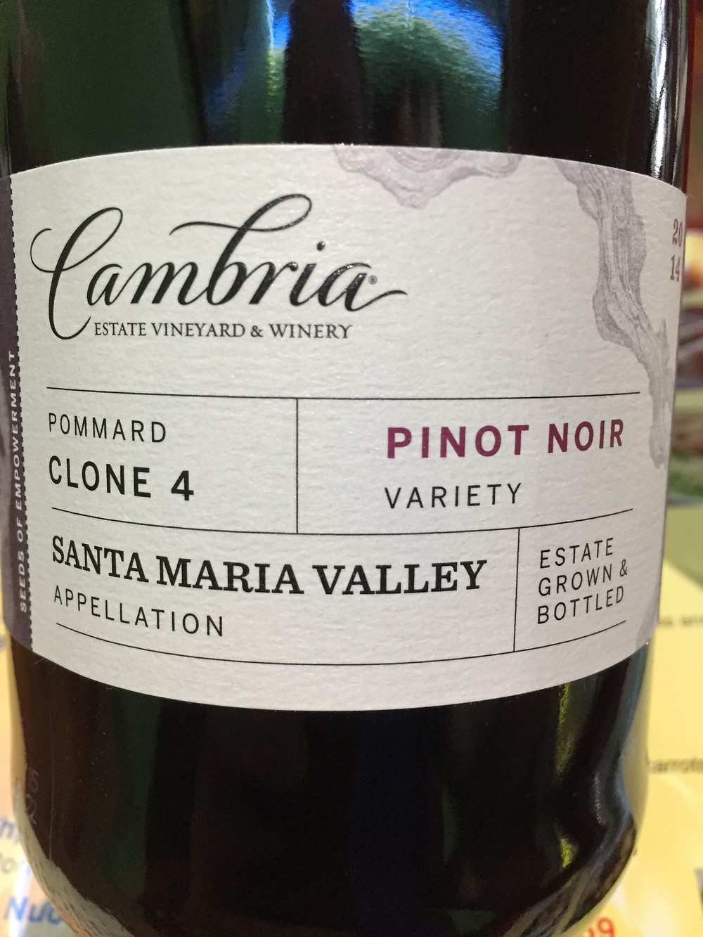 2014 Cambria Pinot Noir (Pommard Clone 4) from California's prodigious Santa Maria Valley. Its soft texture stood up to the richness and its earthy flavors harmonized effortlessly with the food.