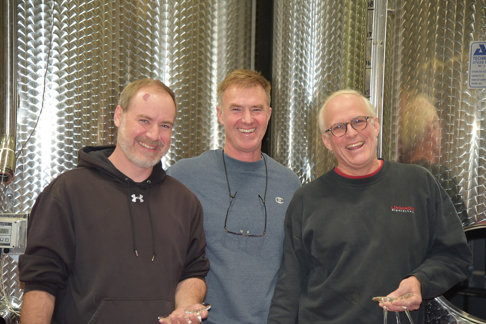 Linganore: Ray Mitcham, winemaker, Eric Aellen, Vineyard Manager, and Anthony Aellen, President