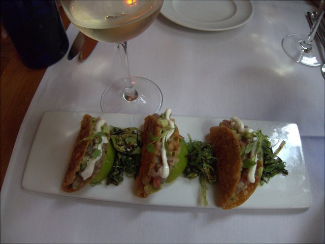 Ahi tuna tacos at Ostra