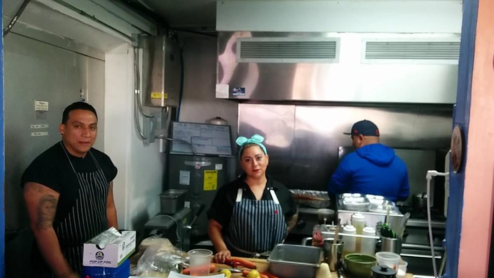Owner Ruben Arciniega , chef Victoria Benavides and sous chef Joel Herrera