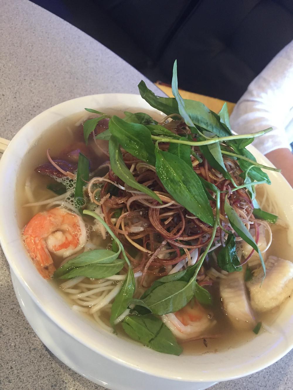 Light Fermented Fish Broth Noodle with Shrimp, Fish and Roasted Pork ($8.49/$8.99), Nuróc Lèo Sóc Trăng