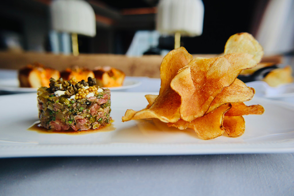 Steak Tartare with eggy mustard and housemade chips