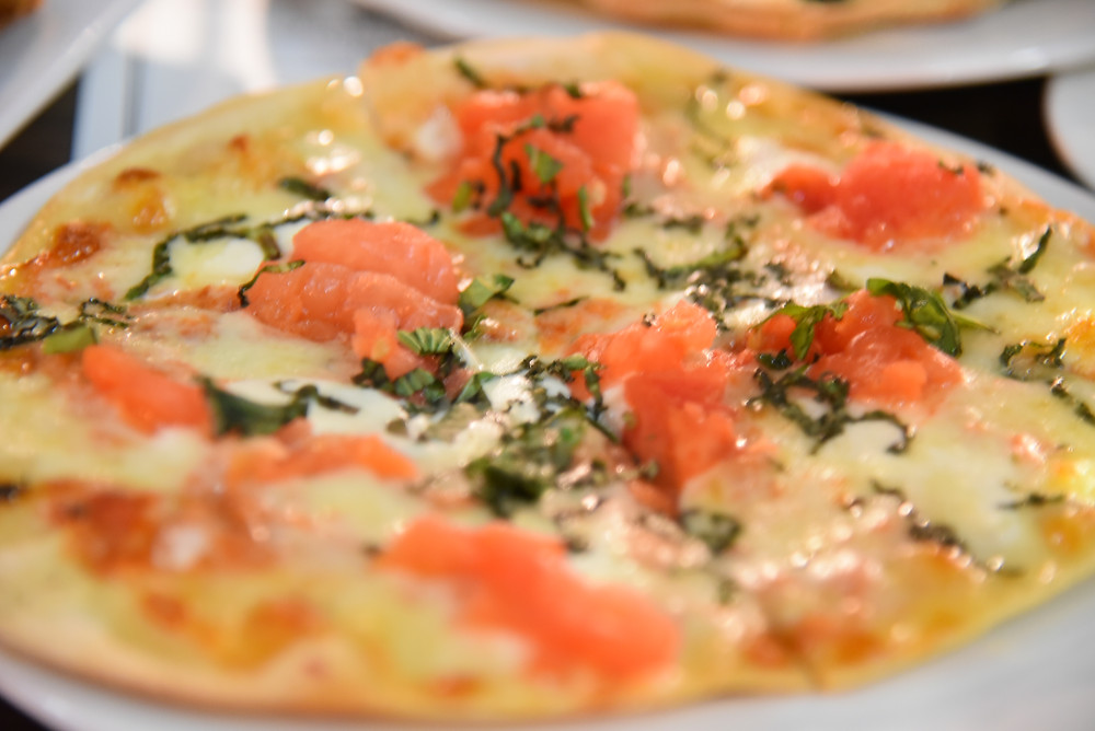 Salmon pizza at Gratzi