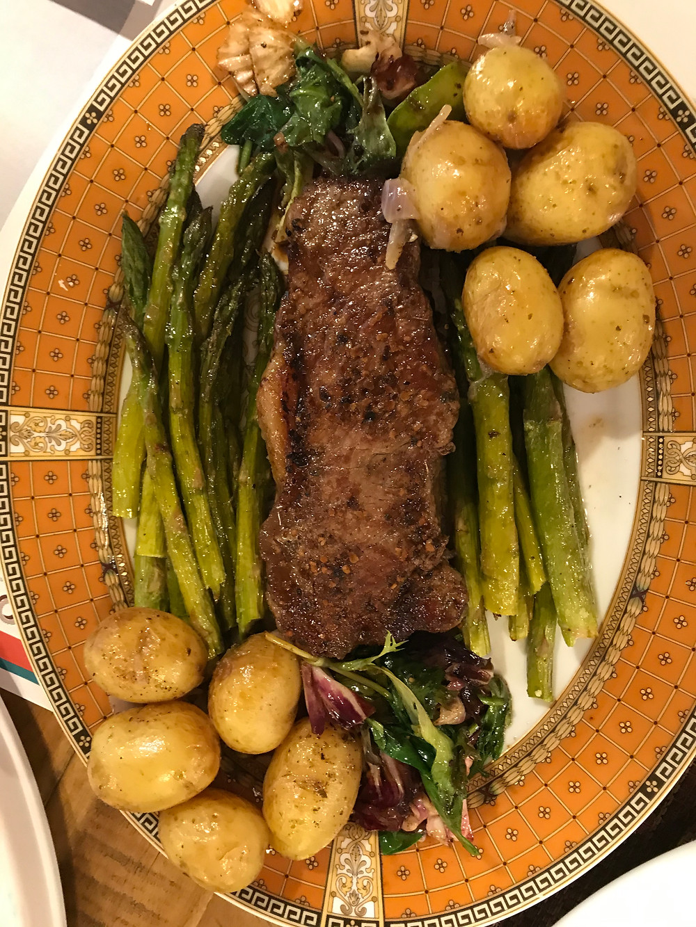 Add some veg. (roasted asparagus and potatoes roasted in the instant pot to speed up the roasting process from 70 mins to 31 seconds). Out of paper plates, so serve from the Bernardaud Limoges.