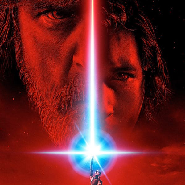 Red Star Wars: The Last Jedi poster featuring Luke, Kylo, and Rey.