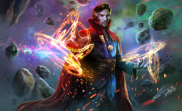 Doctor Strange using his powers to manipulate the universe.