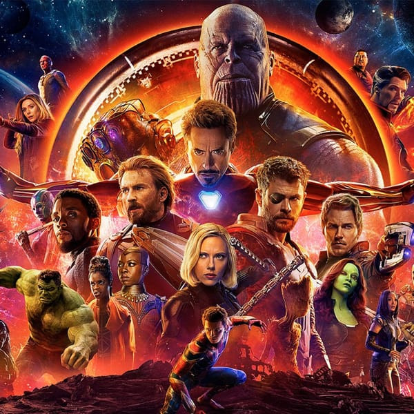 A poster featuring dozens of Avengers: Infinity War characters in a collage.
