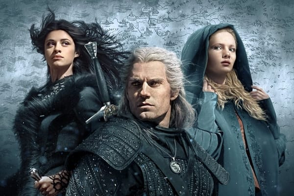 Netflix poster for The Witcher consisting of the show's three main characters Geralt, Ciri, and Yennefer.