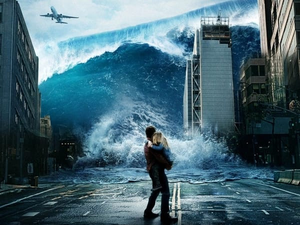 Geostorm poster in which a man is holding his daughter as a gigantic tsunami approaches.