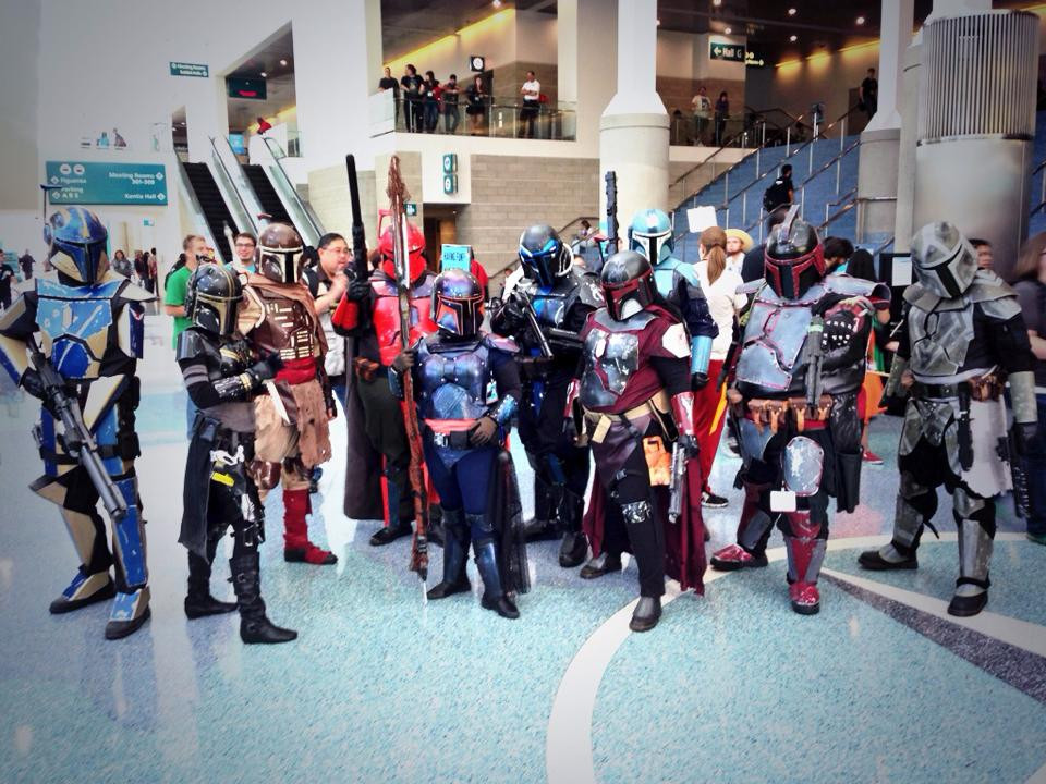 A dozen Star Wars cosplayers pose for a photo at Stan Lee's Comikaze 2013.