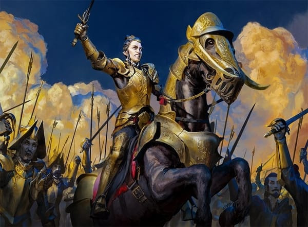Legion Lieutenant sits atop an armored horse, surrounded by vampire soldiers.