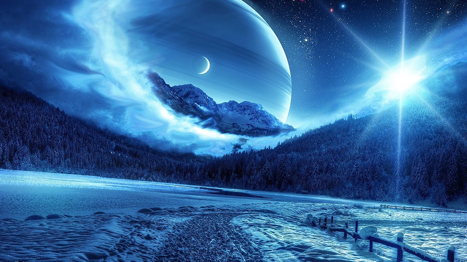 A fictional night sky portraying multiple planets and moons.