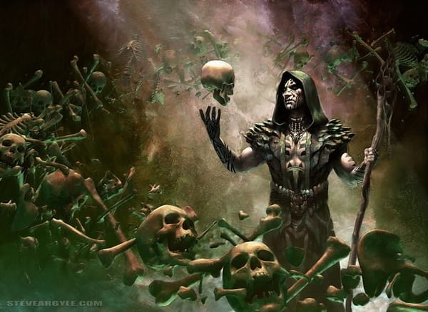 A dark Shaman admires a skull among a floating pile of bones.