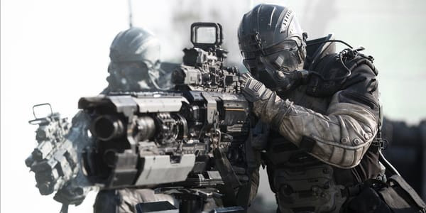 Spectral soldier aiming a very large and powerful rifle.