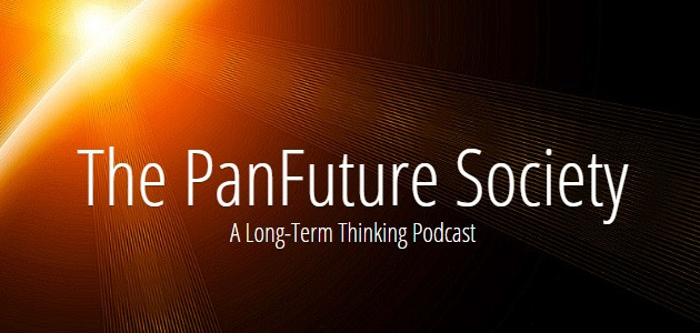The PanFuture Society Podcast logo before a rising sun.