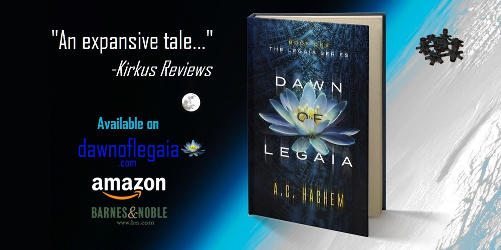 Dawn of Legaia Promo Ad showing a book in space with Earth in the background.