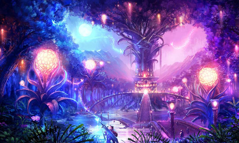 A fantasy forest containing illuminated plants and towers.