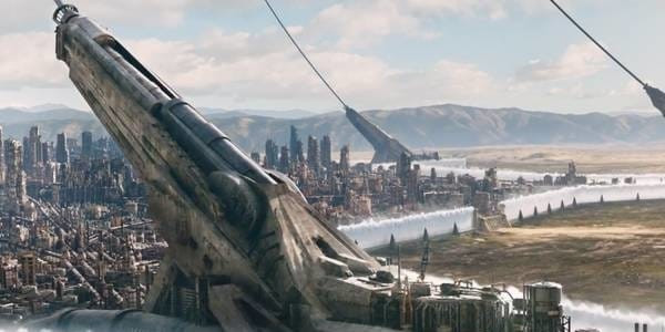 The Floating City of Zalem Which Appears To Be Suspended Over Ground By Giant Steel Cables